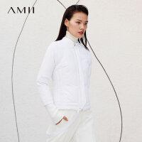 【到手价:312元】Amii极简时尚卡拉扬联名羽绒服女2019冬季新保暖纯色拼带修身外套
