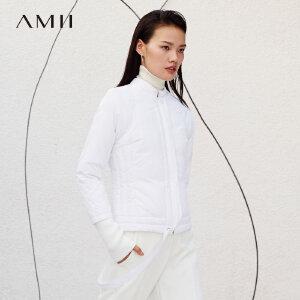 Amii[极简主义]卡拉扬联名 羽绒服女 冬季新保暖纯色拼带修身外套