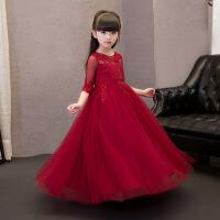 钢琴蓬蓬裙长款夏 女童公主裙儿童礼服长袖夏款酒红色花童生日婚纱 酒 红色