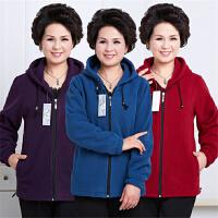 中老年女装外套加肥加大码妈妈装卫衣春秋季运动服中年女士连帽厚