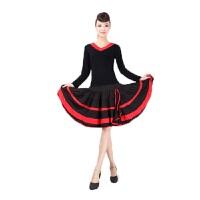 运动套装广场舞服装套装V领长袖+大摆裙拉丁舞蹈服饰健身服装