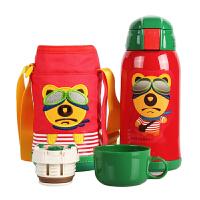 【当当自营】杯具熊(BEDDYBEAR) 儿童保温杯带吸管儿童水杯不锈钢宝宝儿童保温壶学生水杯630ml 红色小熊