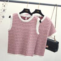 复古圆领撞色边流苏钩花针织上衣女夏季新款宽松短袖T恤