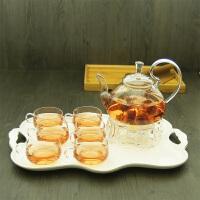 玻璃茶具套装透明加热泡功夫茶红茶杯整套花草具水果茶壶陶瓷茶盘
