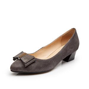 富贵鸟 夏季新款女鞋 浅口女中跟 粗跟尖头鞋蝴蝶结单鞋