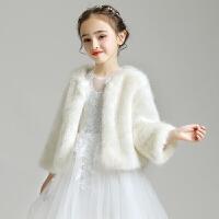 儿童斗篷毛绒小外套长袖毛披肩女童坎肩礼服配饰披风冬季白色