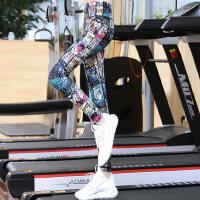瑜伽服紧身运动长裤女士健身房跑步裤瑜珈裤印花显瘦九分裤 支持礼品卡支付