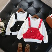 女童上衣2018春装新款中小童时尚宝宝假套头百搭卫衣打底衫潮