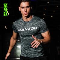 运动短袖篮球上衣宽松肌肉弹力紧身速干健身服装 跑步T恤兄弟衣男 离子灰 紧身款 男款 M(160-170cm)