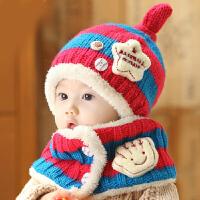 韩版儿童帽子宝宝毛绒帽婴儿毛线帽冬婴幼儿针织帽子围巾套装套帽