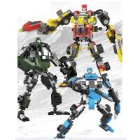星钻拼装积木组装拼插模型 积变战士战火变形金刚机器人玩具81512