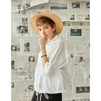 【2件8折/3件75折】云上生活七分袖短外套女方领直筒纯色纯棉外套W3204