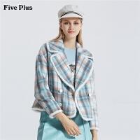 Five Plus女装毛呢外套女格子双排扣西装宽松长袖拼接毛毛