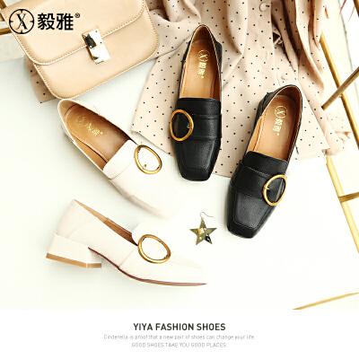 【毅雅】2018春季新款乐福鞋方头粗跟高跟纯色女鞋金属扣休闲圆头单鞋  YD8WM1878