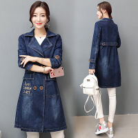 新款韩版牛仔外套女中长款欧美长袖风衣女宽松牛仔褂深色外套