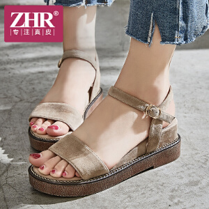 ZHR凉鞋女坡跟韩版百搭露趾厚底松糕鞋小清新时尚一字扣带高跟鞋2018夏新品