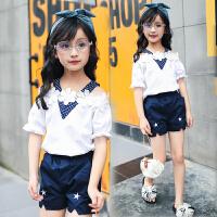 中大童潮女孩夏装短裤露肩两件套 儿童装女童夏季套装2018新款韩版