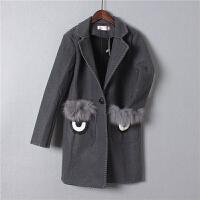 D2秋冬韩版呢子大衣女毛呢外套中长款刺绣边口袋毛毛加厚1.05