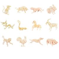 木质拼图立体3d模型仿真大动物手工制作拼装积木制玩具 十二生肖全套 难度(低)