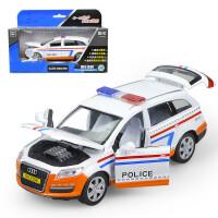 1:32警车Q7越野车合金车模型声光回力开门合金玩具汽车