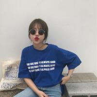春夏女装韩版原宿风百搭字母印花宽松短袖T恤中袖打底衫体恤上衣 蓝色 均码
