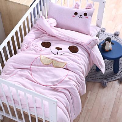 针织彩棉天竺棉幼儿园被子床褥三件套含芯六件套婴童宝宝床品套件可定做