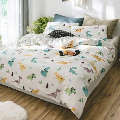 男孩床上用品三件套儿童四件套床笠单人被套床单1.5米1.2夏季