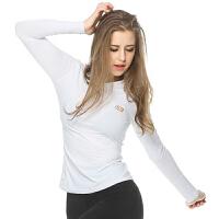 20180321004719985 长袖中领紧身上衣 女士瑜伽服 短袖紧身春夏季速干短裤跑步运动健身房衣