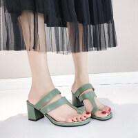 森女系抹茶绿外穿方头高跟粗跟拖鞋夏季时尚套趾凉拖鞋女