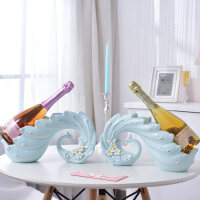 客厅工艺品摆件 创意红酒架摆件孔雀香槟餐厅餐桌家里装饰品客厅北欧现代简约