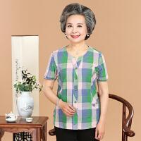 2017中老年女装夏装妈妈装纯棉衬衫短袖上衣全棉格子衬衣T恤女