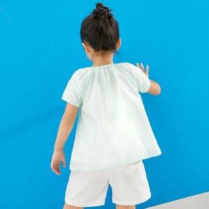 【尾品汇 5折直降】amii童装2017夏新款女童短袖T恤宽松透气轻薄网纱荷叶边休闲上衣