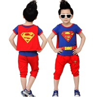 夏季新款仿真超人套装装备童装男童短袖t恤透气舒适迪迦奥特曼衣服 110cm((L