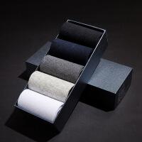 男袜棉袜商务中筒袜运动休闲短袜四季纯色袜子5双盒装 均码