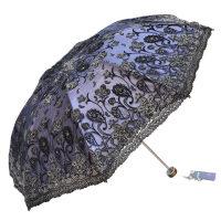 天堂伞折叠伞双层黑胶绣花遮阳伞防紫外线33114E纱影芦花