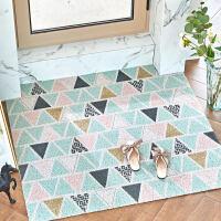 北欧黑白几何丝圈地垫入户门地毯进门垫子卧室大门口蹭脚垫可裁剪