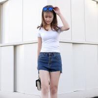 大码女裤韩版经典蓝性感显瘦牛仔短裤 时尚不规则毛边热裤FZ