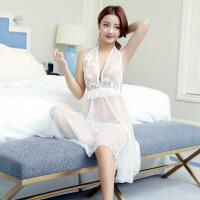 性感透明薄纱露背刺绣睡裙 制服蕾丝诱惑三点式睡衣 情趣内衣含内裤