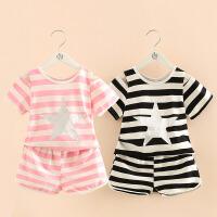 宝宝休闲套装夏装新款女童童装条纹露肩T恤短裤两件套