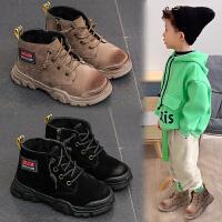 儿童靴子男男童冬季加绒英伦风马丁靴