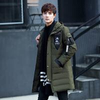 冬季男士羽绒服男韩版学生中长款连帽加厚冬装外套青年潮 雪州豹7188绿色 0/M