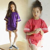 女童短裤套夏新款韩版时尚潮衣中大童纯棉运动套装短袖亲子装