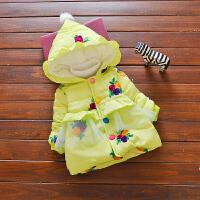 畅印 女宝宝秋冬装女童加厚棉袄外套冬季婴儿童装棉衣0-1-2-3岁潮jyl 玫瑰花棉衣绿色 73cm