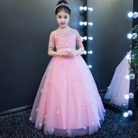女童蓬蓬裙长款晚礼服演出服 六一儿童礼服公主裙夏季婚纱花童裙 橙粉色