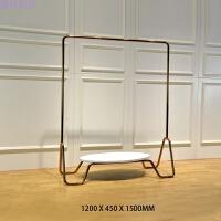 女装店衣架展示锈钢电镀靠墙架白色木质地台服装展示架