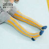 amii女童裤袜加绒加厚竖条纹2018春秋新款中大儿童弹力长袜韩版