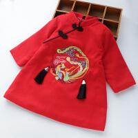 新年装女童旗袍连衣裙夹棉加厚冬季新款中国风宝宝呢子公主裙