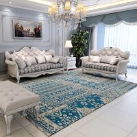 家纺2017秋冬款地毯欧式客厅地毯茶几 美式卧室床边毯可机洗长方形沙发地毯 北欧经典 湖蓝
