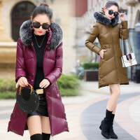 棉衣女中长款2017冬装新款韩版修身加厚连帽外套配真毛领