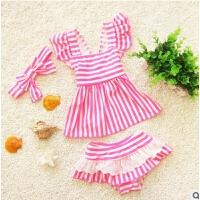 儿童泳装女童海军风条纹分体裙式可爱三件套小女孩学生游泳衣 粉红色 上衣+裙子+发带